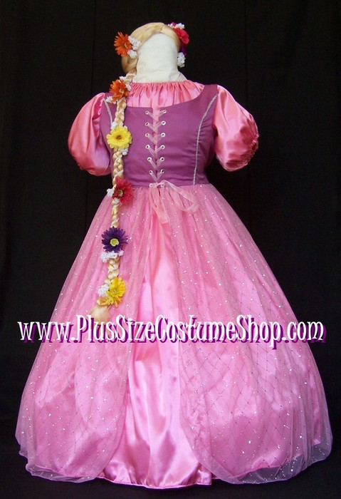 handmade plus size rapunzel halloween costume from tangled renaissance ball gown dress pink satin with blonde flower braid wig