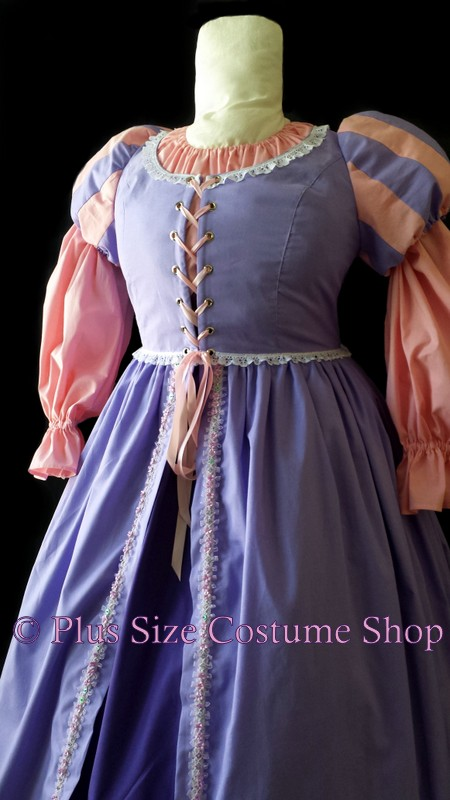 handmade plus size rapunzel tangled romeo and juliet gown dress renaissance pink lavender