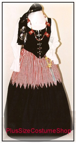 handmade plus size renaissance pirate halloween costume striped red and white skirt skull and crossbones necklace silver ghost pirate scarf