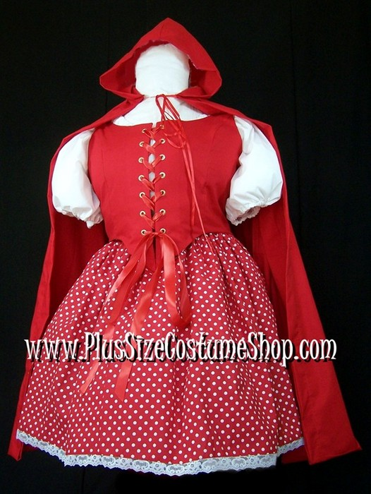handmade plus size sexy little red riding hood halloween costume renaissance gown dress short red white polka dot skirt with lace red bodice corset hooded cape white peasant shirt