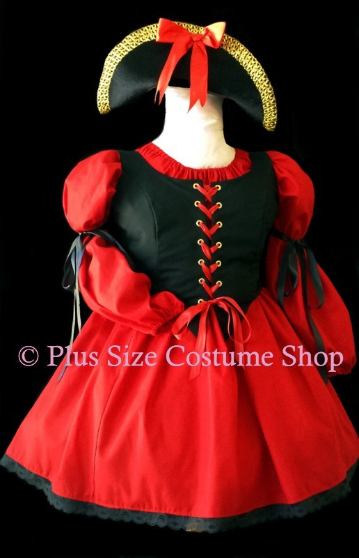 handmade plus size sexy pirate wench buccaneer halloween costume red and black lace renaissance dress gown pirate hat