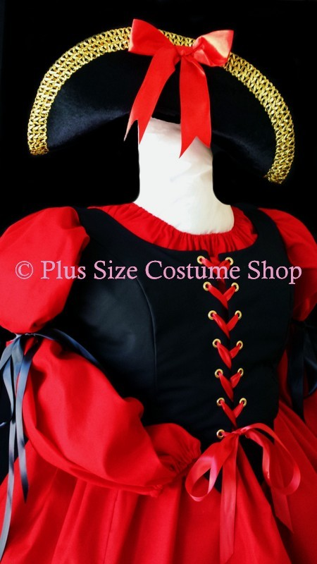 handmade plus size sexy pirate wench halloween costume red and black renaissance dress gown with pirate hat and lace