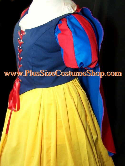 handmade plus size snow white princess halloween costume renaissance gown dress up close view of red and blue shoulder cape with striped sleeves once upon a time the huntsman