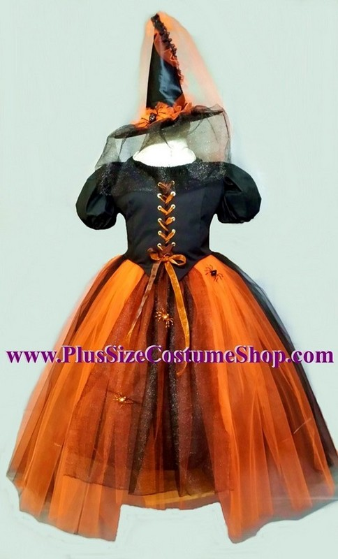 handmade plus size spider net tulle witch halloween costume renaissance gown dress orange and black hat veil tulle skirt bodice corset glitter spiders