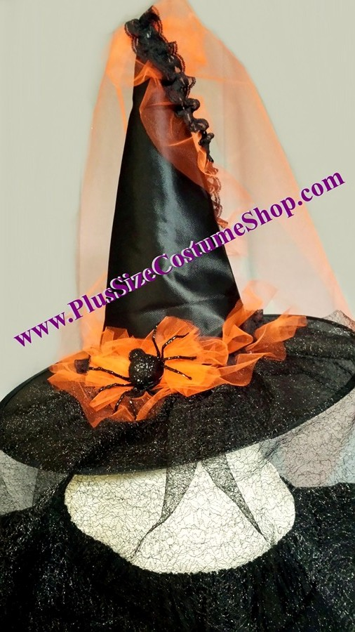 handmade plus size spider tulle witch halloween costume renaissance gown dress hat orange and black glitter spiders