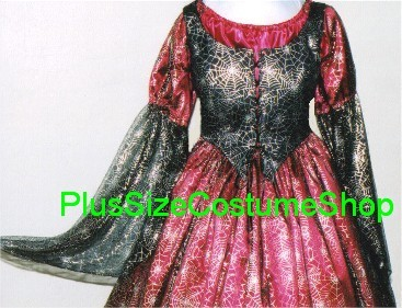 handmade plus size spider web witch halloween costume gown dress red and black satin with silver spider web netting