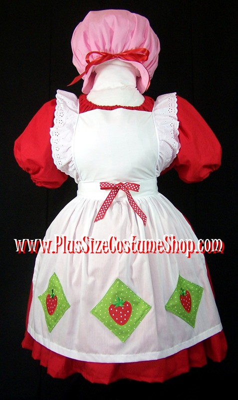 handmade plus size strawberry shortcake halloween costume 1980s 80s pop culture cartoon costume with strawberries apron and pink puff hat