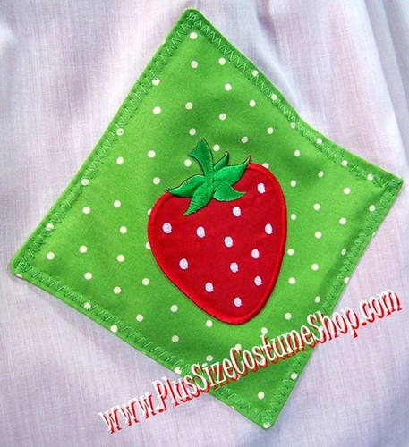handmade plus size strawberry shortcake halloween costume up close apron view with green polka dot diamonds and strawberry patches