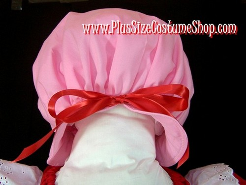 handmade plus size strawberry shortcake halloween costume up close view of pink puff hat with red ribbon