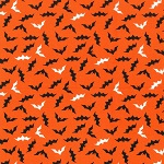 plus size halloween harvest witch fabric sample black bats on orange cotton