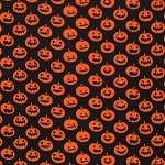 plus size halloween harvest witch fabric sample orange pumpkins on cotton black