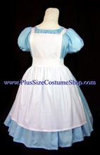thumbnail alice in wonderland plus size halloween costume in light blue cotton with white apron
