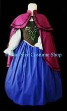 thumbnail plus size anna frozen halloween costume renaissance dress gown with embroidered bodice berry cape shoulder capelet