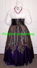 thumbnail plus size esmeralda fortune teller gypsy halloween costume from the hunchback of notre dame purple satin skirt black pvc waist cincher white shirt multi-colored sequin handkerchief skirt coins