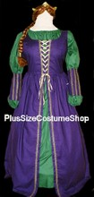 thumbnail plus size fiona halloween costume from shrek ogre queen princess renaissance dress gown in purple and hunter green cotton with gold trim and bracers wig