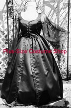 thumbnail plus size gothic witchy witch woman vampire vampiress halloween costume renaissance dress gown in black satin and chiffon bridal wedding gown