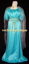 thumbnail plus size grecian goddess roman woman halloween costume historical regency ancient dress gown in nile blue satin with silver cape cord