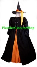 thumbnail plus size harvest witch halloween costume renaissance dress gown with blackbird hat and orange skirt black overdress