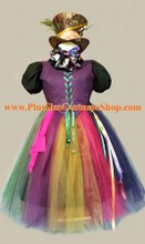 thumbnail plus size mad hatter halloween costume from alice in wonderland renaissance dress gown with hat scarf bowtie and tulle skirt