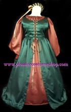 thumbnail plus size maid marian robin hood halloween costume renaissance dress gown in hunter green and brown satin