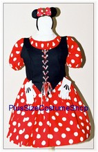thumbnail plus size miss minnie mouse halloween costume red white polka dotted dot skirt shirt ears gloves renaissance style dress gown