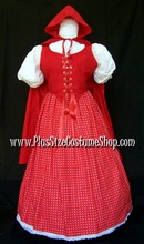 thumbnail plus size red riding hood halloween costume modest full-length renaissance dress gown with cape and polka dotted skirt