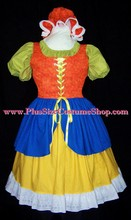 thumbnail plus size mother goose halloween costume little miss muffet renaissance dress gown in bright colored cottons blue yellow orange mop cap hat