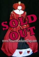 thumbnail plus size queen of hearts halloween costume from alice in wonderland red satin renaissance dress gown with gold trim and wig