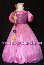thumbnail plus size rapunzel halloween costume from tangled renaissance dress gown pink satin beaded sequin organza net with flower blond braid wig