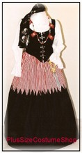 thumbnail plus size pirate wench halloween costume renaissance dress gown with red white striped skirt and skull crossbones necklace