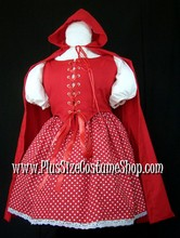 thumbnail plus size sexy red riding hood halloween costume renaissance dress gown with cape and polka dot skirt
