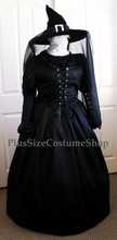 thumbnail plus size wicked witch halloween costume from the wizard of oz wicked elphaba renaissance dress gown in black satin and chiffon with buckle hat