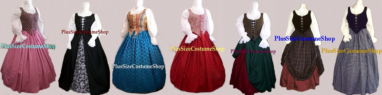 plus size and super size halloween costumes, renaissance dresses, and Christmas costumes banner 2