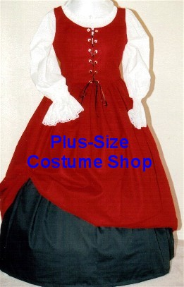 plus size renaissance gown dress basic package with black cotton skirt and red cotton skirt and white peasant shirt and red bodice corset