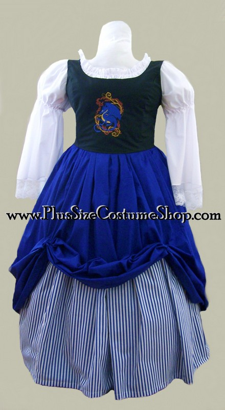 plus size embroidered bodice renaissance gown dress package with black corset with blue dragon design, blue skirt and white peasant shirt