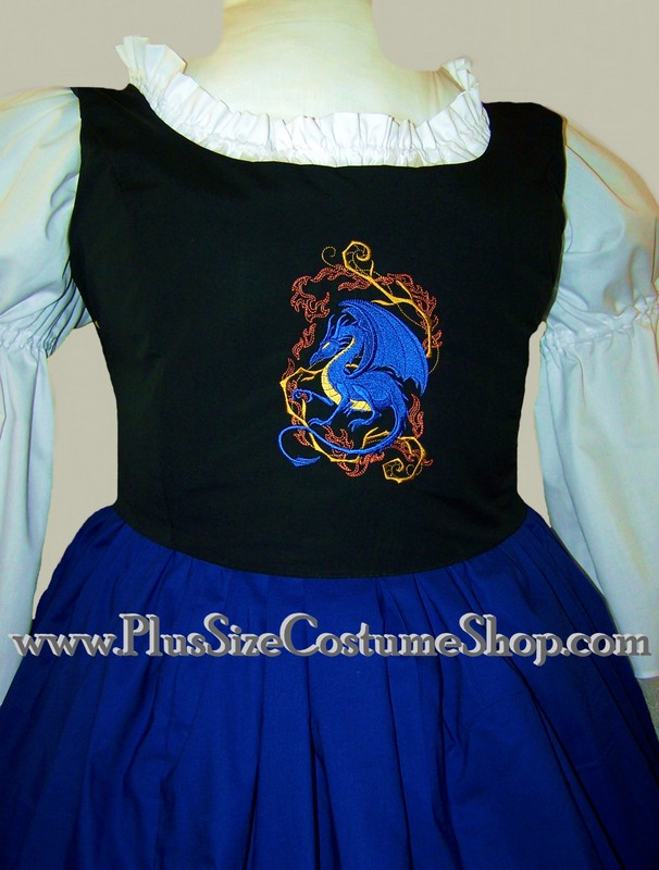 plus size embroidered bodice with blue dragon design
