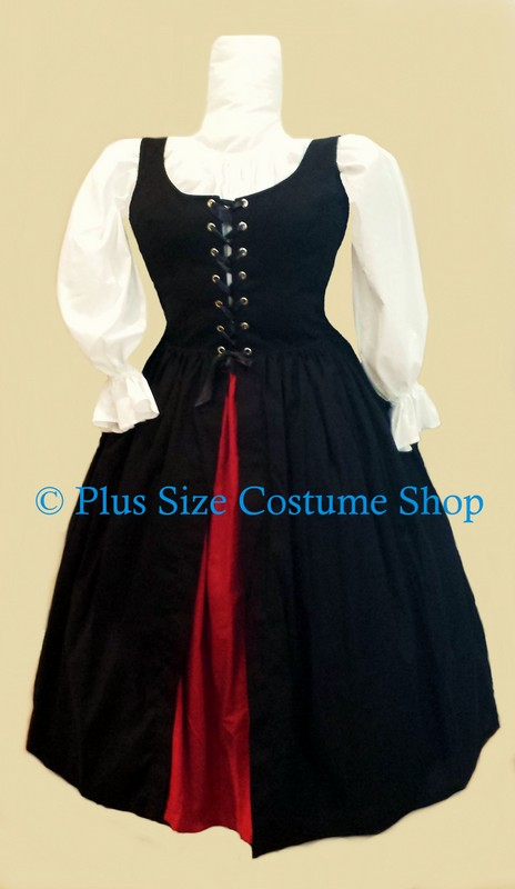 plus size irish lass renaissance gown dress overdress package with dark red skirt and white peasant shirt and black lace-up overdress