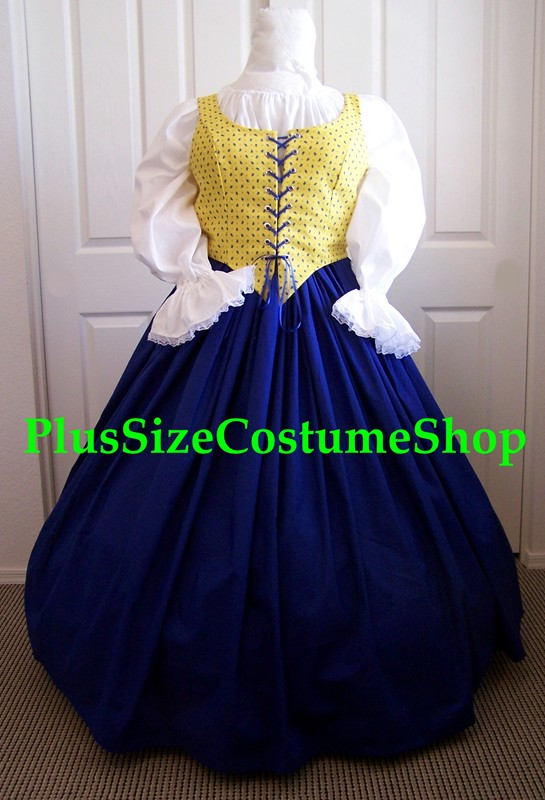 plus size renaissance gown dress limmited edition package with French blue cotton skirt and white peasant shirt and yellow patterned bodice corset