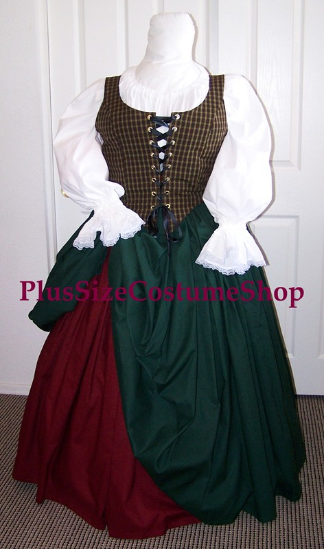 plus size renaissance gown dress limited edition package with plaid bodice and burgundy and hunter green cotton skirts and white peasant shirt