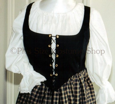 renaissance plus size lace-up bodice corset in black