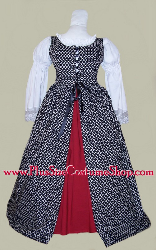 plus size quatrefoil Irish overdress renaissance package gown dress in black with claret red skirt