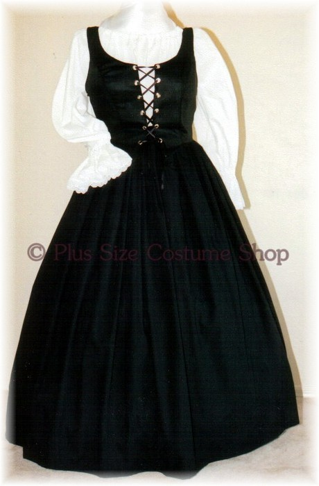 plus size renaissance gown dress basic package with black cotton skirt and white peasant shirt and black bodice corset