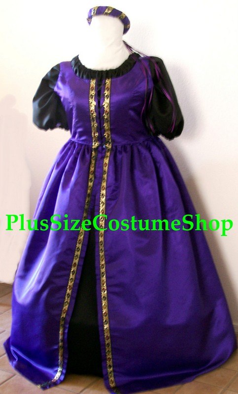 plus size renaissance satin court gown dress package queen princess halloween costume with royal purple satin overdress with gold trim and black peasant shirt and skirt with headpiece