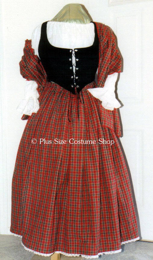plus size scottish irish lass tartan plaid renaissance gown dress package with red stewart tartan skirt and shawl and white peasant shirt and black bodice corset