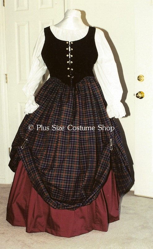 ... black bodice and burgundy and and plaid skirts and white peasant shirt