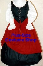 plus size renaissance gown dress halloween costume with black bodice corset and white peasant shirt and red skirt and black skirt