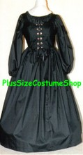 plus size renaissance gown dress witch halloween costume with black bodice and skirt and peasant shirt