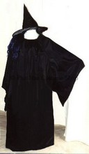 plus size black satin chemise gothic sleeves witch gown dress halloween costume