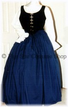 plus size renaissance gown dress halloween costume with bright blue skirt and black bodice corset and white peasant shirt
