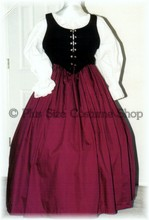 plus size renaissance gown dress halloween costume with burgundy skirt and black bodice corset and white peasant shirt